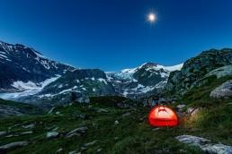 Abend, Alpenpass, Berge, Bern, Berner-Oberland, Gletscher, Landschaft und Natur, Nacht, Natur, Orte, Schweiz, Suisse, Sustenpass, Switzerland, Tageszeit, Verschiedenes, Zelt