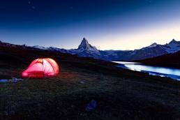 Alpen, Landschaft und Natur, Matterhorn, Nacht, Natur, Orte, Schweiz, Stellisee, Suisse, Switzerland, Tageszeit, Vallais, Verschiedenes, Wallis, Zelt, Zermatt