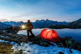 Abend, Berge, Bergsee, Gewässer, Graubünden, Landschaft und Natur, Natur, Orte, Schweiz, See, Suisse, Switzerland, Tageszeit, Taschenlampe, Verschiedenes, Zelt
