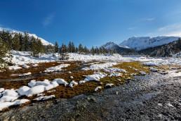 Alpen, Alpenpass, Bach, Engadin, Fluss, Gewässer, Graubünden, Ofenpass, Schnee, Schweiz, Suisse, Switzerland, Wetter, Winter