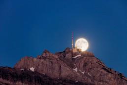Alpen, Alpstein, Appenzellerland, Gipfel, Landscape, Landschaft, Landschaft und Natur, Mond, Orte, Ostschweiz, Schweiz, Suisse, Switzerland, Säntis, Vollmond