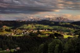 Alpstein, Appenzell Ausserrohden, Appenzellerland, Berge, Dorf, Hügel, Landscape, Landschaft, Ostschweiz, Schweiz, Suisse, Switzerland, Säntis, Wald