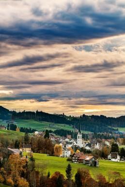 Appenzell, Appenzell Ausserrohden, Appenzellerland, Autumn, Clouds, Dorf, Fall, Herbst, Hundwil, Ostschweiz, Wolken