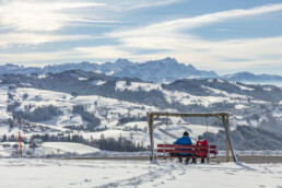Appenzell Ausserrohden, Appenzeller Vorderland, Aussicht, Aussichtsbank, Bank, Berge, Frost, Rehetobel, Winter