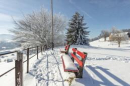 Appenzell Ausserrohden, Aussicht, Aussichtsbank, Bank, Berge, Frost, Waldstatt, Winter