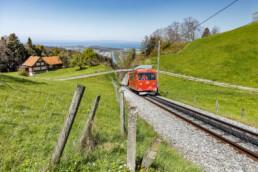 Appenzell, Appenzell Ausserrohden, Appenzeller Land Tourismus AR, Appenzeller Vorderland, Bergbahn, Frühling, Schienenverkehr, Schweiz, See, Spring, Suisse, Switzerland, Verkehr, Wolfhalden, lake