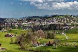 Appenzell, Appenzell Ausserrohden, Dorf, Frühling, Herisau, Hügel, Ortsbild, Ostschweiz, Schweiz, Spring, St. Gallen, Stadt, Streusiedlung, Suisse, Switzerland