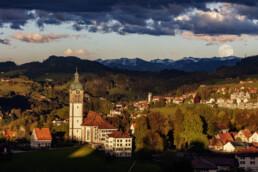 Abend, Abendrot, Appenzell, Appenzell Ausserrohden, Dorf, Frühling, Hügel, Mond, Ostschweiz, Speicher, Spring, Streusiedlung, Suisse, Switzerland, Trogen, Vollmond, Wald, Wald AR, Wetter