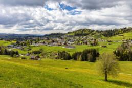 Appenzell, Appenzell Ausserrohden, Baum, Blumenwiese, Clouds, Dorf, Frühling, Ostschweiz, Schweiz, Spring, Streusiedlung, Suisse, Switzerland, Teufen, Wolken