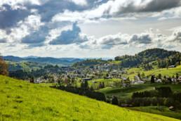 Appenzell, Appenzell Ausserrohden, Aussicht, Clouds, Dorf, Hügel, Kirche, Kultur, Kulturbauten, Ostschweiz, Schweiz, Suisse, Switzerland, Teufen, Wolken
