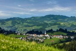Alpen, Alps, Appenzell, Appenzell Ausserrohden, Dorf, Ostschweiz, Schweiz, Schwellbrunn, Sommer, Suisse, Switzerland, summer